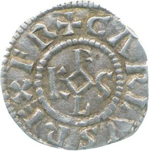Silver denier of Charles the Bald, from Bourges mint, showing Karolus monogram