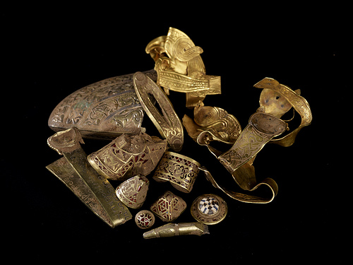 Obligatory pseudo-hoard photograph of material from the Staffordshire Hoard