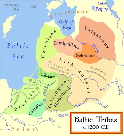 Map of the Baltic tribal zones, c. 1200