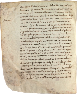 Contemporary manuscript of the Admonitio Generalis of 789