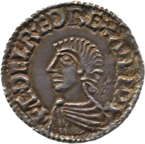 Obverse of a silver penny of King Æthelred the Unready