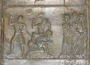 The martyrdom of St Adalbert at the hands of the Prussians, from the doors of Gniezno Cathedral