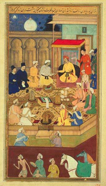 The Mughal Emperor Akbar debating different religions with scholars in his court