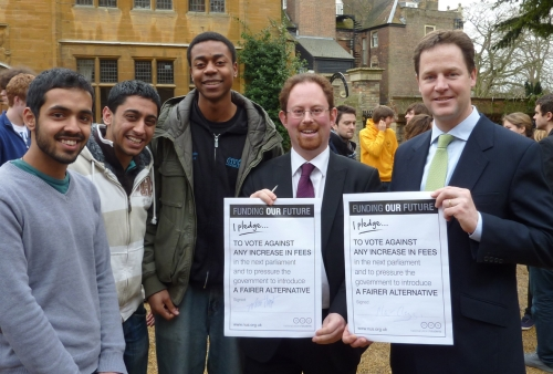 Cambridge MP Julian Huppert and Liberal Democrat leader Nick Clegg with their pledges to oppose any increase in university tuition fees, on the campaign trail in 2010