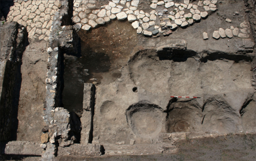 Site of the robbed-out dolia in the portico from above