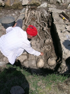 Paired burial inside the old portico (I think) at Villamagna