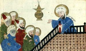 Medieval Arabic depiction of Muhammad preaching at Medina
