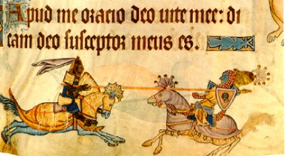 Manuscript illumination of Richard the Lionheart jousting with Saladin