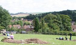The excavation site at Lyminge, under work
