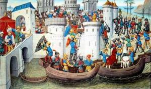 Illumination of Latin forces besieging Constantinople at the peak of the Fourth Crusade