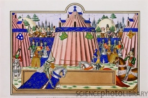 Illumination of knights jousting near Calais, circa 1390 (so claims source)