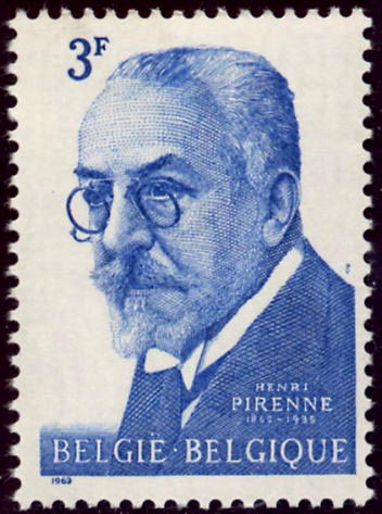Belgian postage stamp depicting Henri Pirenne