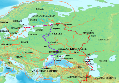 Map of trade routes through the Caucasus and East in the tenth to eleventh centuries