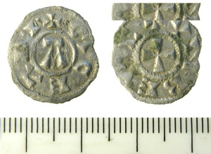 Silver Saint Edmund penny, c. 905-18, found by metal detector at Great Barton, Norfolk