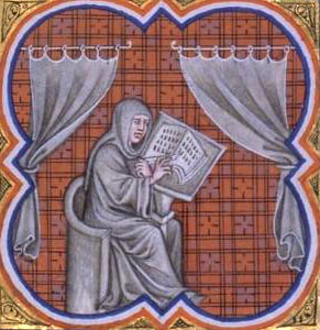 Fourteenth-century illustration of Einhard writing