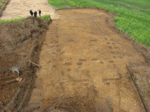 Foundations of a hall in the royal palace site at Jelling, Denmark