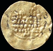 Imitative gold mancus of Barcelona struck by Bonhom after 1018