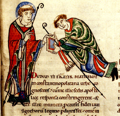 Manuscript illumination of Gregory the Great giving a copy of one of his works to Bishop Leander of Seville