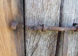 Zoomorphic door-bolt on the reconstructed granary at l'Esquerda, Roda de Ter