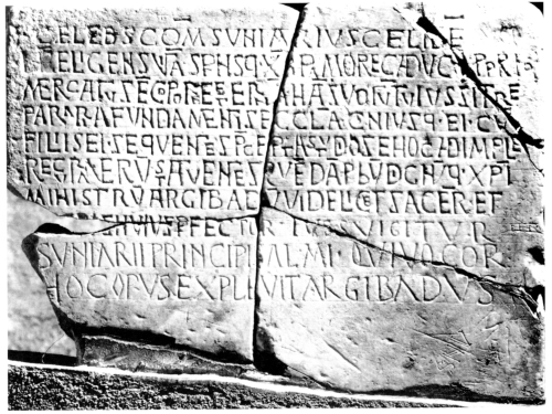 Reassembled fragments of the dedicatory inscription from Santa Maria de Roses