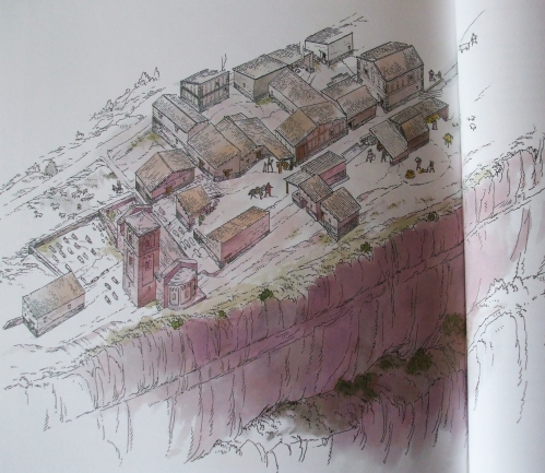 Reconstruction drawing of the medieval settlement at l'Esquerda