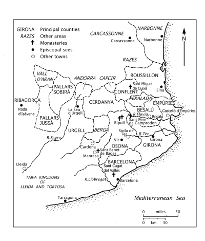 Map of the Catalan counties c.950, by Philip Judge and Jonathan Jarrett