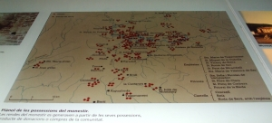 Map of the properties of Sant Pere de Casserres, in the abbey museum
