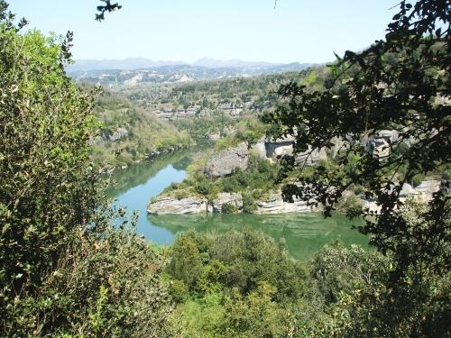 The Riu de Ter towards Roda de Ter viewed from Sant Pere de Casserres
