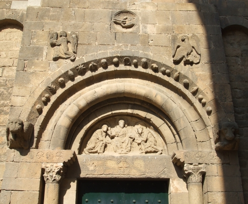 Timpanum and surround of portal at Sant Pau del Camp, Barcelona