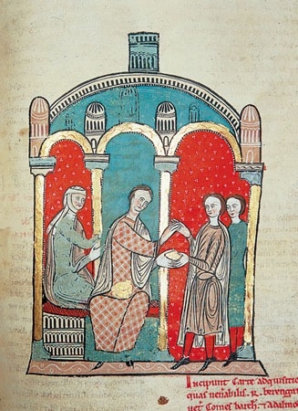 Count-Marquis Ramon Berenguer I and his third wife Almodis de la Marche buying the county of Cerdanya