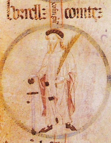 Count-Marquis Borrell II of Barcelona, Girona, Osona (945-993) and Urgell (947-993), as pictured in the Rotlle genealògic del Monestir de Poblet, c. 1400