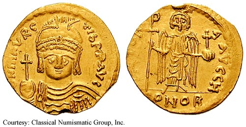 Antiochene gold solidus of Emperor Maurice Tiberius (584-602)