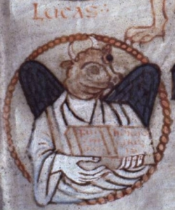 Allegorical portrait of St Luke from the Ste-Croix Gospels