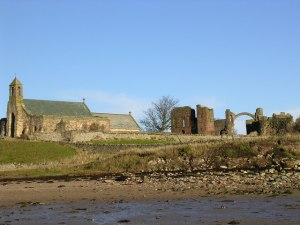 Church of St Mary and the ruins of Lindisfarne Priory, Holy Island, Lindisfarne