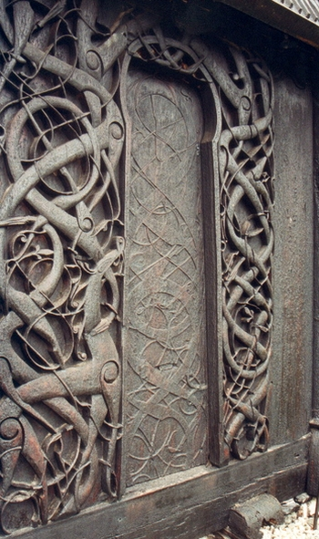 Portal of the urnes stave church, Norway, in the Ringerike style, photographed by Nina Aldin Thune