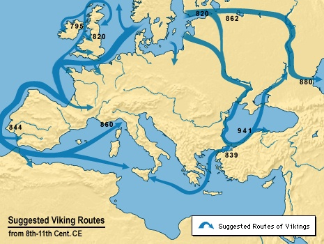 Map of Viking migration routes, by Suzanne Kemmer