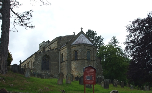 Church of St Mary, Lastingham, seen from the east, downhill