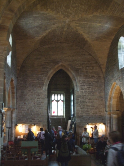 Nave and chancel of St Mary's Lastingham, with vaulting and internal Gothic arches