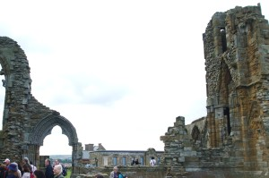 Missing sections of wall at Whitby Abbey, removed by German bombardment in 1914