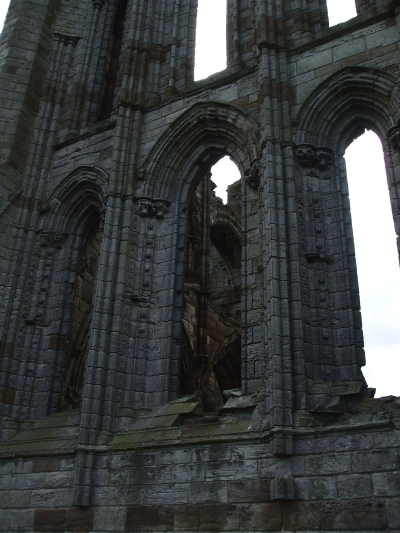 Windows viewed through windows in the ruins of Whitby Abbey