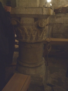 One of the pillar bases supporting the vault in the crypt of St Mary's Lastingham