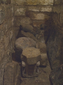 Stone fragments stored in the blind stairwell of the crypt at St Mary's Lastingham