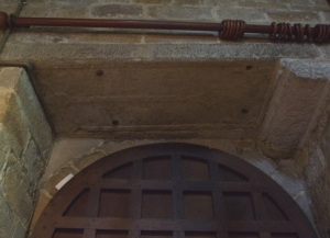 A cross slab reused as a door lintel in St Mary's Lastingham