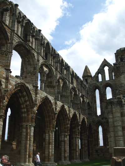 Three stories of arcading from the main nave of Whitby Abbey