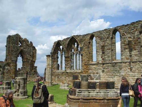 Column bases and ruined arcades at Whitby Abbey