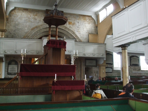 Interior of St Mary's Whitby looking towards pulpits from nave