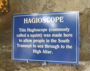 Display sign describing the hagioscope in St Mary's Whitby