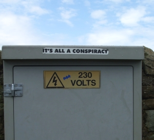 Creative labelling of a junction box in Whitby Abbey carpark