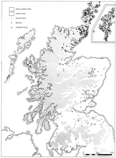 Distribution map of brochs, forts and souterrains in Scotland, from Martin Carver's Surviving in Symbols: a visit to the Pictish nation (1995), p. 12