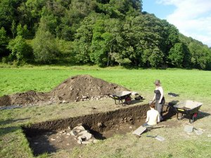 Excavation trench at Fortingall where a probably-monastic site has been partly uncovered